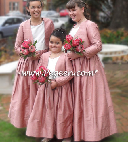 Medium Pink and White Silk Flower girl dresses with bolero jacket | Pegeen