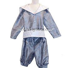 Style 241 Boys Ring Bearer Suit in Burgundy and Silver Gray