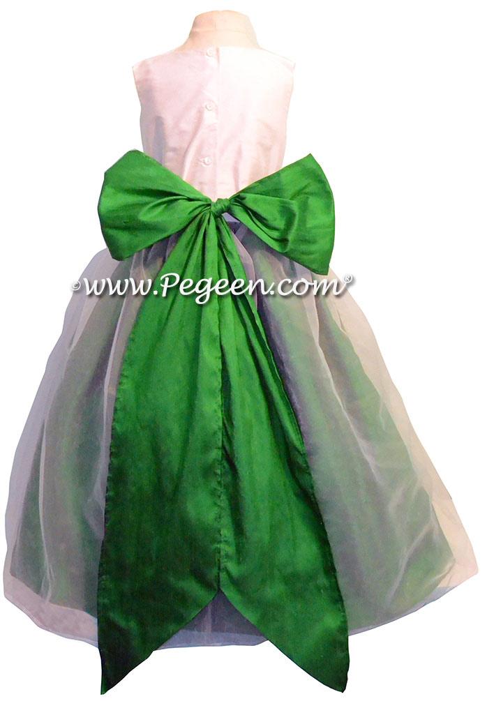 White And Emerald Green Flower Girl Dresses 76