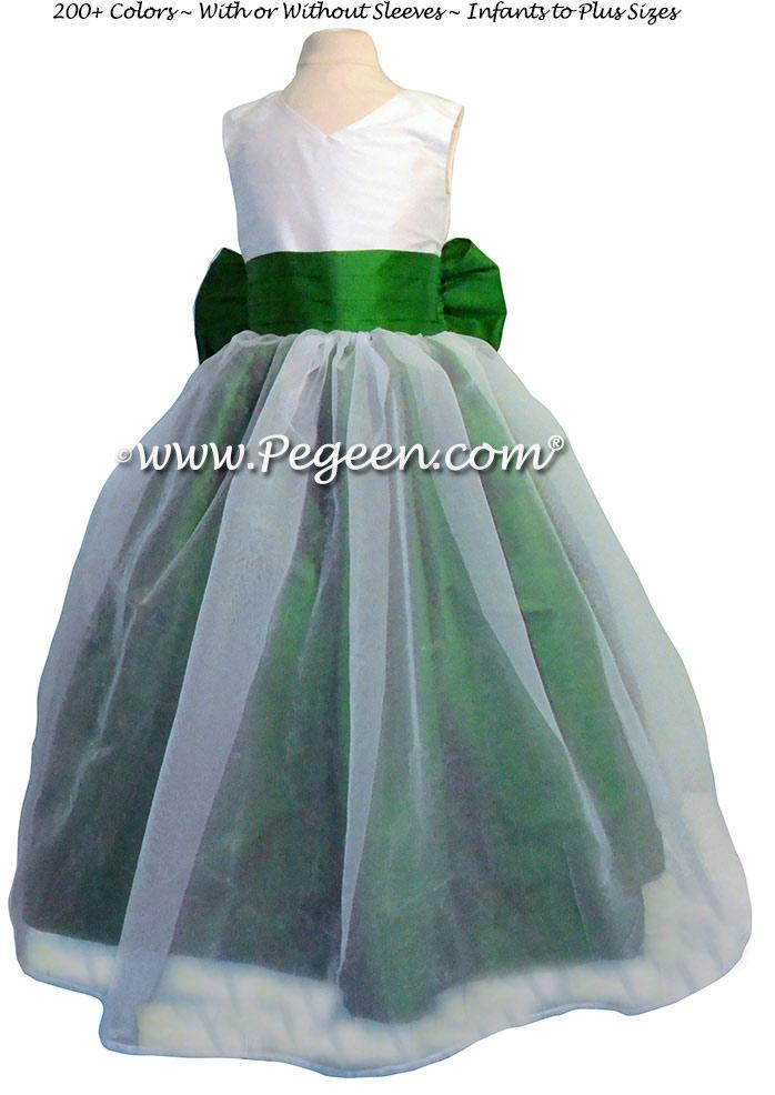 White And Emerald Green Flower Girl Dresses 113