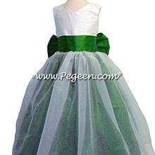 Emerald green and white silk flower girl dresses