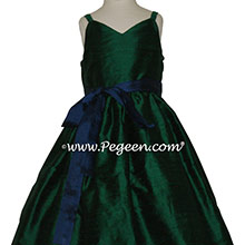Forest Green and Navy Blue Spagetti strap jr bridesmaids dress