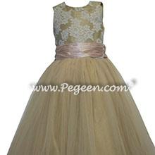 spun gold  and blush pink tulle junior bridesmaids dress