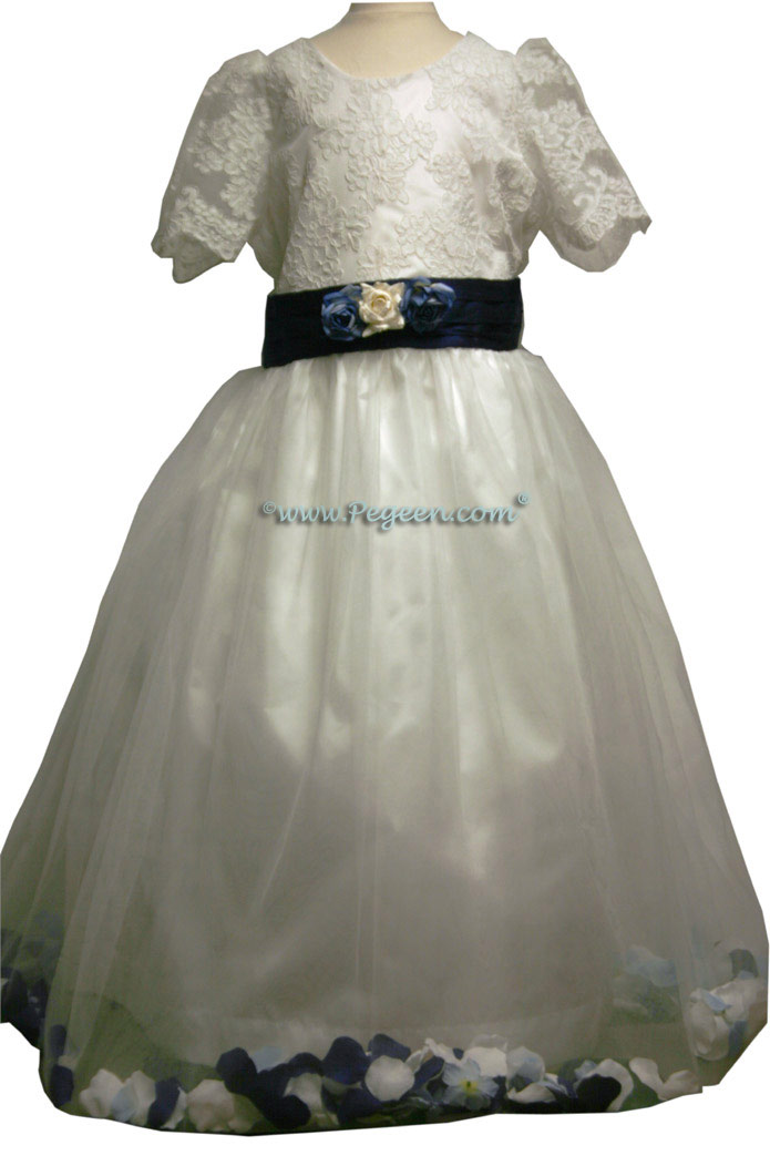Navy and White Tulle Junior Bridesmaids Dress Style 333
