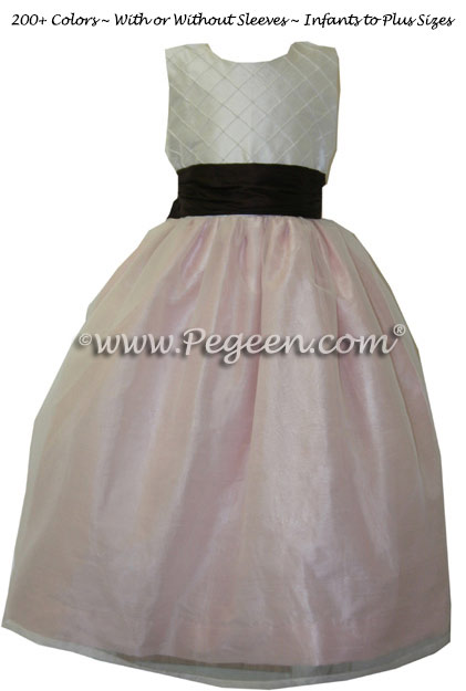 Petal Pink and Semi-Sweet Chocolate Bbrown Flower Girl Dresses Style 307