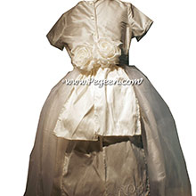 Antique White Monogrammed Silk First Communion dress