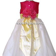 Ivory, Cerise (hot pink) and Lemonade (yellow)organza CUSTOM Flower Girl Dresses With back Flowers