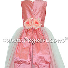 Custom Gumdrop Pink silk with Organza CUSTOM FLOWER GIRL DRESSES by Pegeen