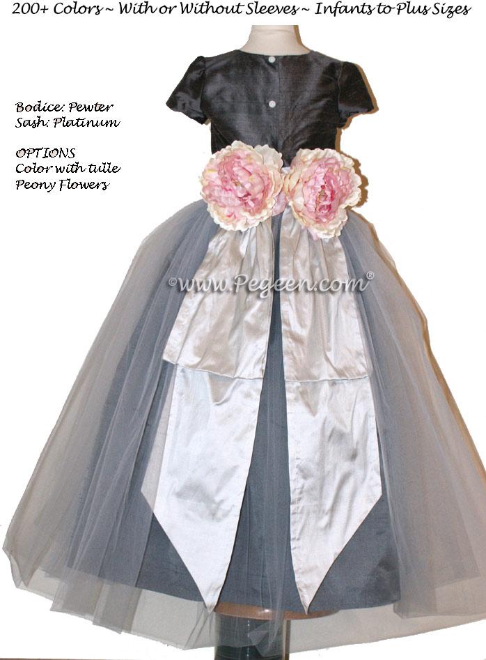 Platinum and Pewter Silk Flower Girl Dresses  Style 313