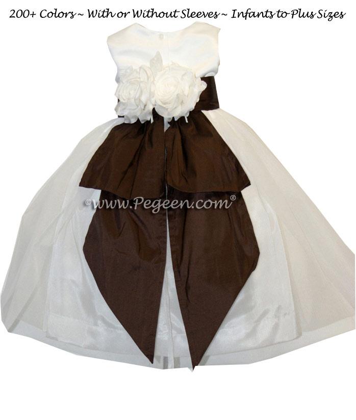 Semi-Sweet Brown amd New Ivory Silk Flower Girl Dresses  Style 313