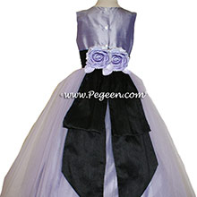 victorian (lavender) and black Silk Flower Girl Dresses