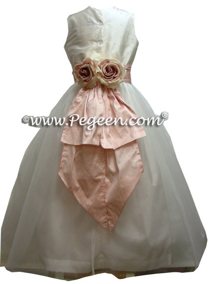 Sequined Silk and Petal Pink Flower Girl Dresses style 315