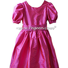 Shock pink silk flower girl dresses with puff sleeves style 318 by Pegeen