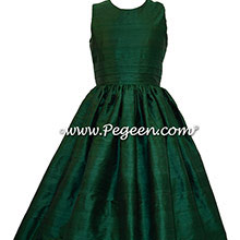 Forest Green Silk Flower Girl Dresses style 318 by Pegeen
