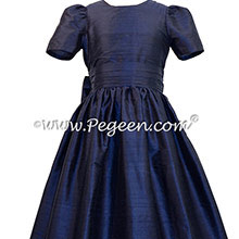 Navy Blue Silk Flower Girl Dresses style 318 by Pegeen