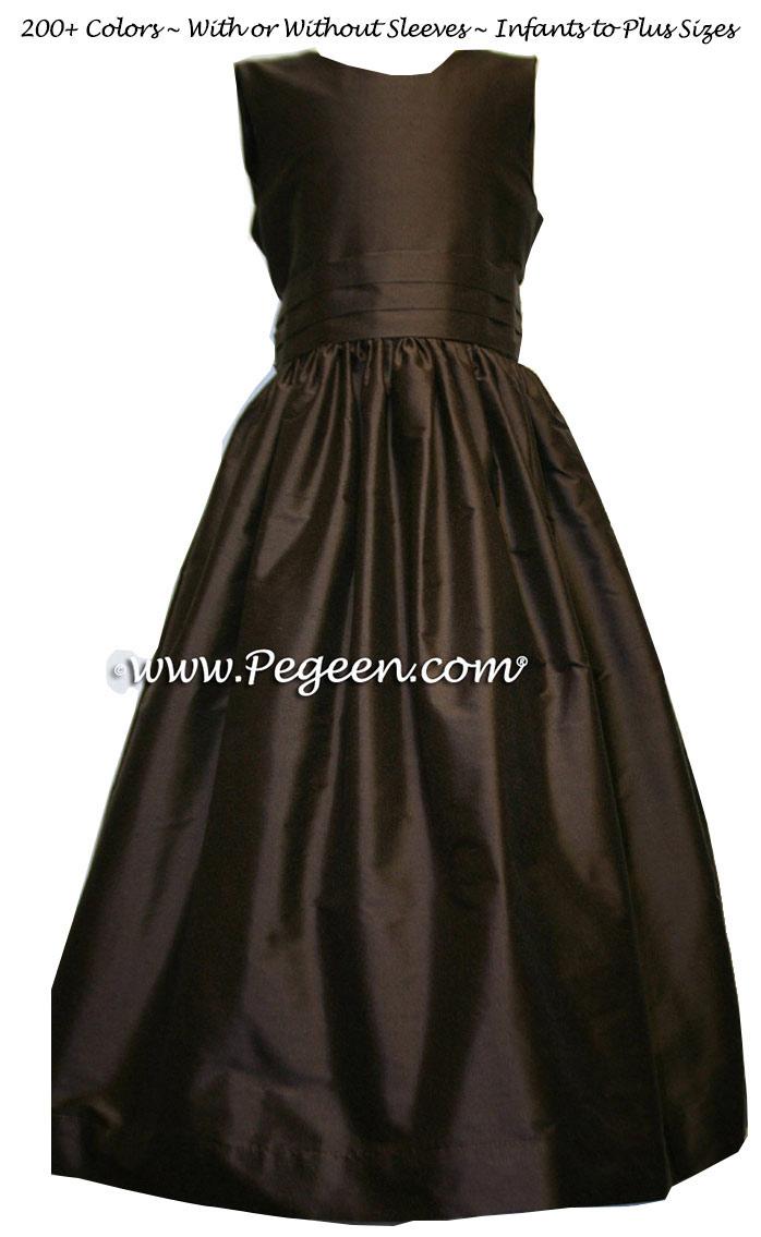 Custom Semi-Sweet Brown flower girl dress in silk Classic Style 318