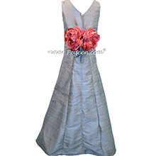 Silver Gray Silk Jr Bridesmaids Dress style 320