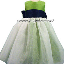 Organza and Flower Girl Dresses in Navy and Apple Green