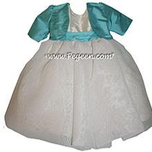 Bahama Breeze (aqua) and Antique White Infant Flower Girl Dress Style 326