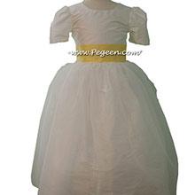 lemonade and New ivory silk Tulle Custom Flower Girl Dress Style 326