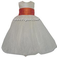 Mango (orange) and New Ivory Silk and Organza Flower Girl Dress style 326