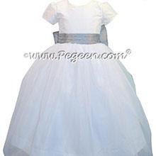 Antique White and Silver Gray silk Tulle Custom Flower Girl Dress Style 326
