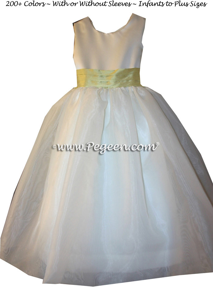 Sunflower yellow and white flower girl dresses pegeen flower girl yellow and ivory flower girl dresses by pegeen style 326 mightylinksfo