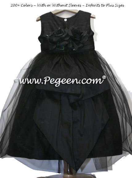 Black Silk Tulle Flower Girl Dresses with Black Silk Flowers Style 313
