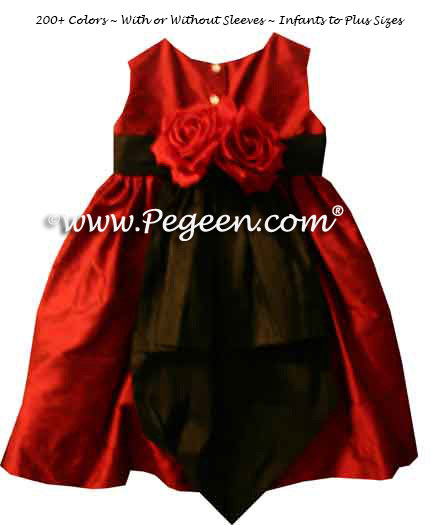 Black and Claret Red Flower Girl Dresses Style 383