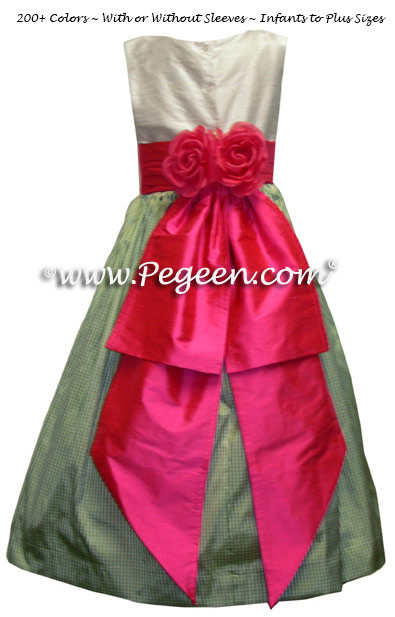 Sage Green Check and Shock Flower Girl Dresses with back flowers
