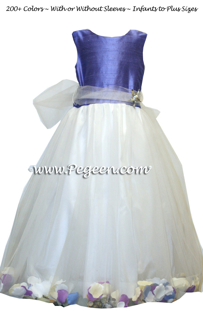 The Perfect Beach Violet and White Flower Girl Dress with Added Sea Shells Style 333
