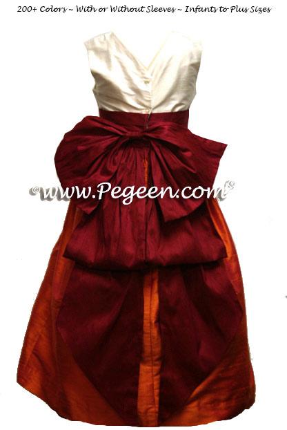 Mango orange and beauty red flower girl dresses