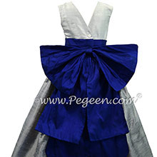 Custom flower girl dresses in Silver Gray, Platinum Gray and Blue Indigo from Pegeen
