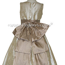Wheat and Antigua Taupe Silk flower girl dresses Style 345 by Pegeen