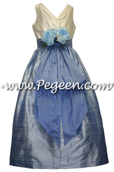 Jr Bridesmaids Dress in Ocean Blue and Denim Blue Silk | Pegeen
