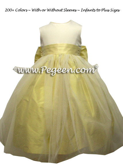 Yellow and White Tulle Flower Girl Dress Style 356