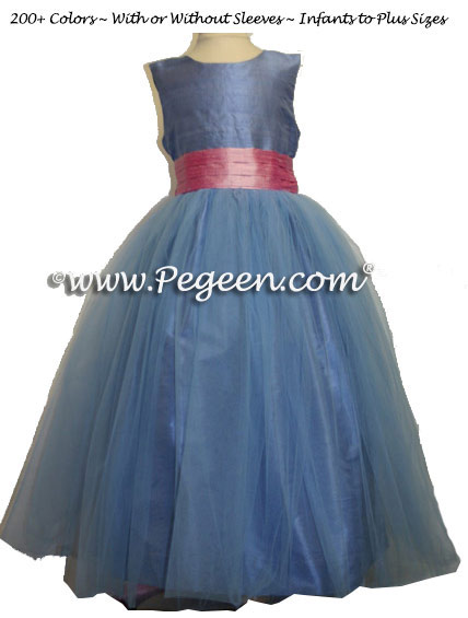 Rose Pink and French Blue Tulle Junior Bridesmaids Dress and Blue Tulle Skirt Style 356