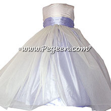 New Ivory and Lilac Silk Flower Girl Dresses