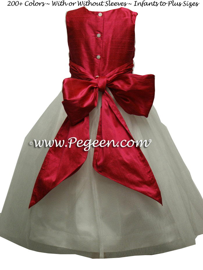 Red Silk Infant Holiday Dress 338