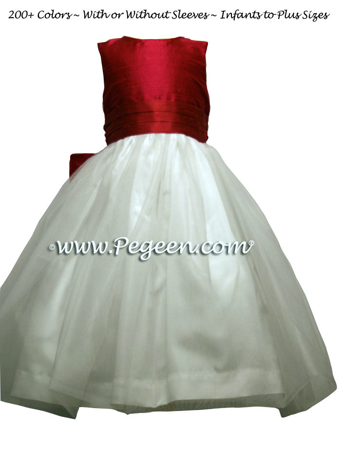 Red Rouge Silk Flower Girl Dresses by PEGEEN