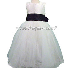 Silk FLOWER GIRL DRESSES Antique White and Midnight Blue with a Tulle Skirt