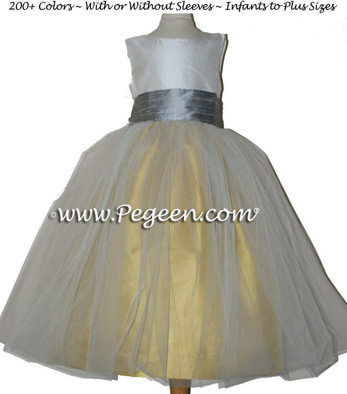 YELLOW AND SILVER GRAY SILK SASH AND TULLE JUNIOR BRIDESMAID DRESS