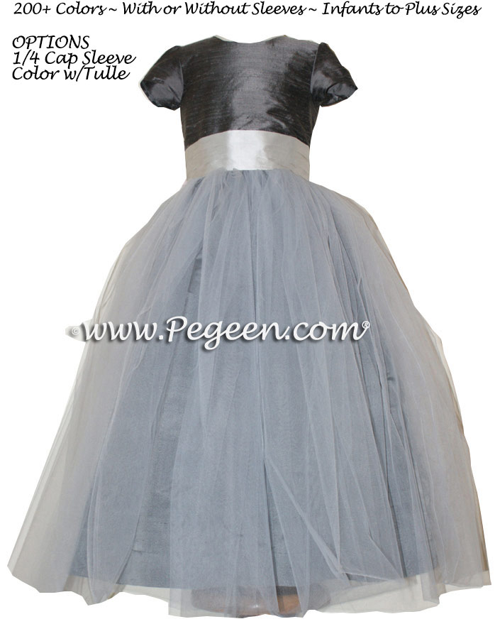 Flower Girl Dress Style 356 in Platinum and Pewter Silk | Pegeen