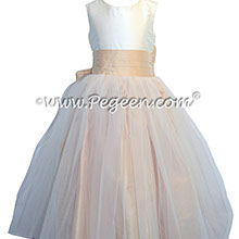 New Ivory and Pure Gold Tulle Flower Girl Dresses