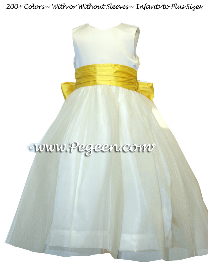 Saffron Yellow and White Satin with Tulle Junior Bridesmaid Dress