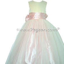Silk FLOWER GIRL DRESSES Ivory Satin and Peony Pink with a Tulle Skirt