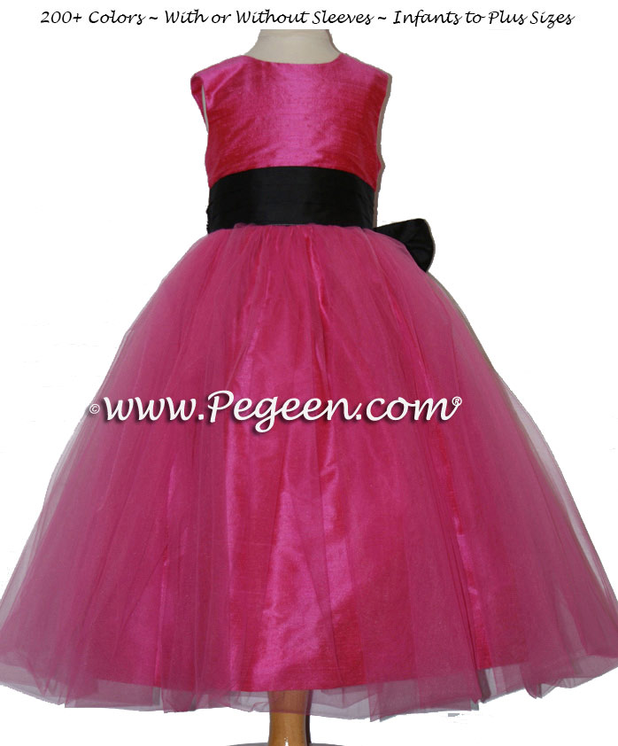 Flower Girl Dress in Pink and Midnight Silk and Tulle | Pegeen