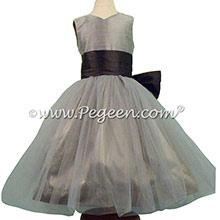 Medium Gray and Pewter Silk Flower Girl Dresses Style 356 - PEGEEN