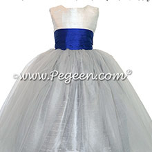 Gray and Sapphire Blue flower girl dresses with gray tulle
