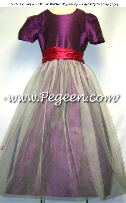 Thistle Purple and Lipstick Pink Tulle Custom Flower Girl Dresses